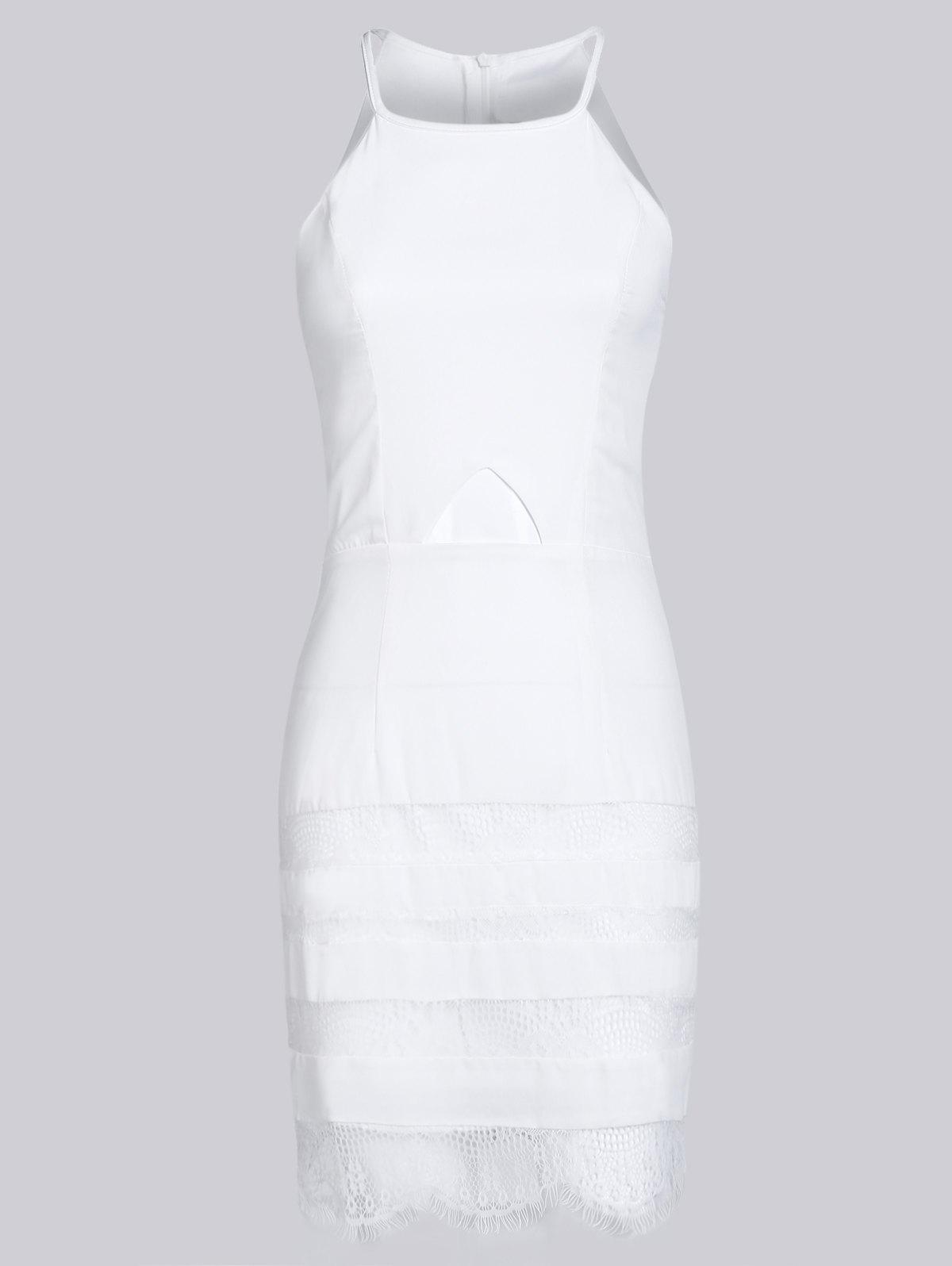 Trendy Jewel Neck Sleeveless Hollow Out Laciness Dress For Women - WHITE XS