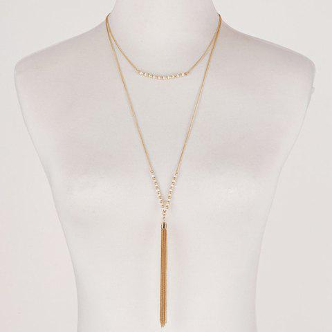 Beads Chain Tassel Layered Sweater Chain - GOLDEN