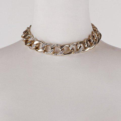 Simple Rhinestoned Solid Color Alloy Chainsaw Necklace For Women