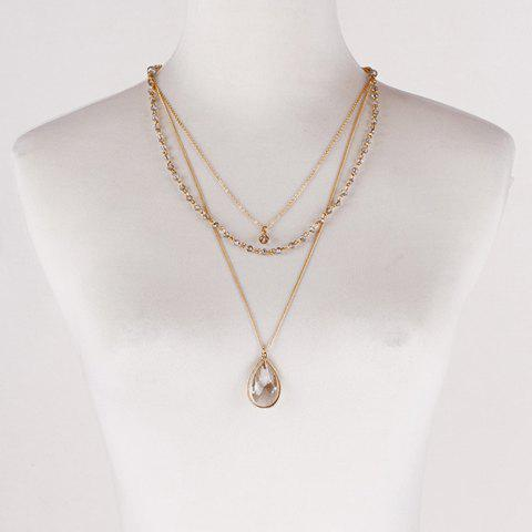 Simple 3 Layers Faux Crystal Beads Sweater Chain For Women - GOLDEN