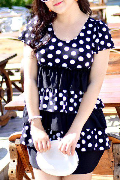 Sweet Polka Dot Printed Layered One-Piece Dress Swimwear For Women - BLACK 3XL