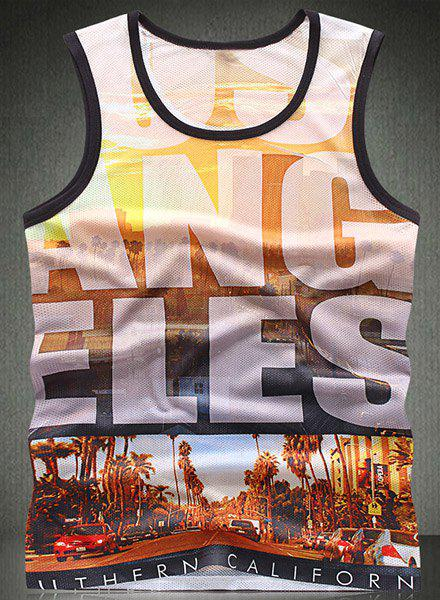 Trendy Round Neck Letters Pattern Breathable Sleeveless Men's Tank Top - COLORMIX XL