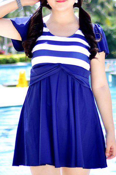 Sweet High Waist Striped One-Piece Dress Swimwear For Women - PURPLISH BLUE 3XL