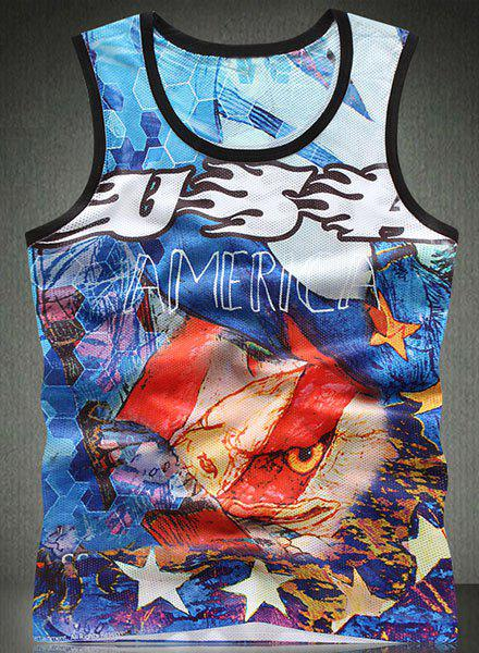 Trendy Round Neck Colorful 3D Letters Pattern Breathable Sleeveless Men's Tank Top - COLORMIX M