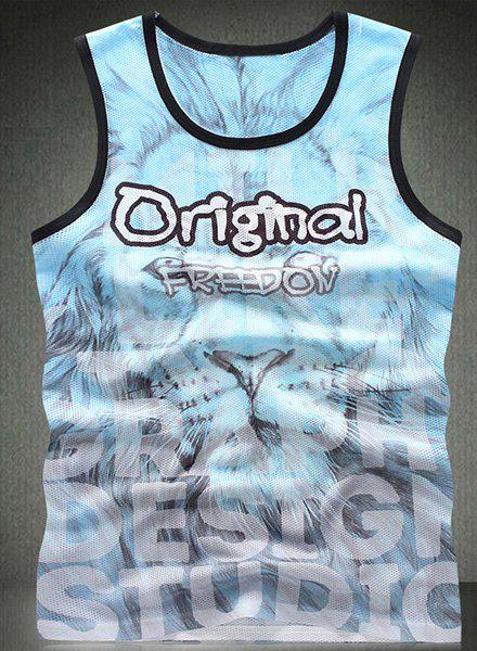 Trendy Round Neck Letters Printed Breathable Sleeveless Men's Tank Top - COLORMIX 2XL