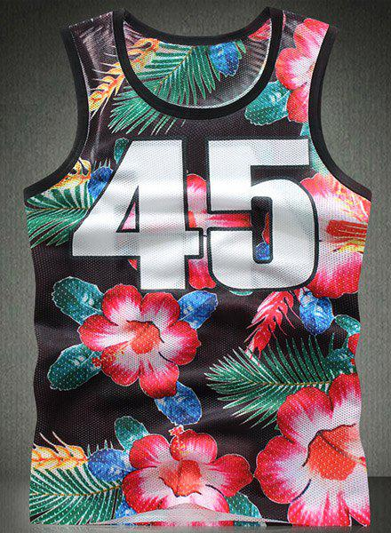 Modish Round Neck 3D Floral Print Numbers Pattern Breathable Sleeveless Men's Tank Top - COLORMIX L