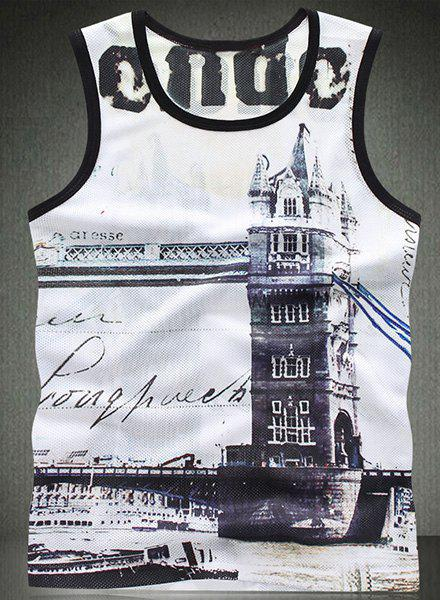 Modish Round Neck 3D Building Pattern Breathable Sleeveless Men's Tank Top - COLORMIX M