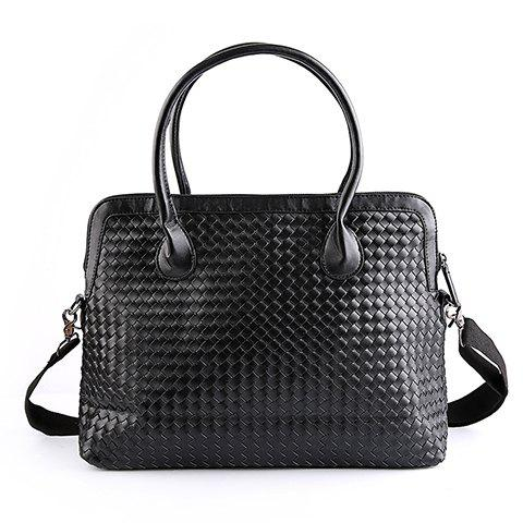 Fashionable Black Color and Weaving Design Men's Briefcase - BLACK