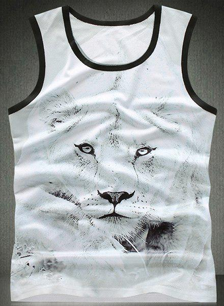 Modish Round Neck Lion Pattern Breathable Sleeveless Men's Tank Top - M WHITE