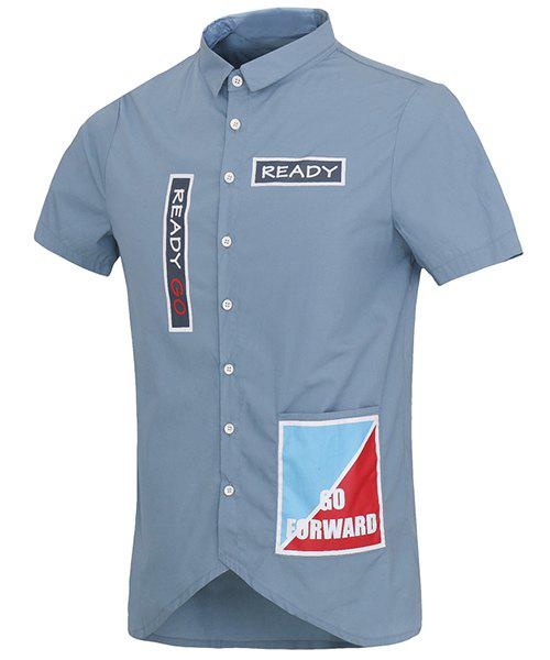 Letters Print Pocket Design Turn-Down Collar Short Sleeve Men's Shirt - BLUE M