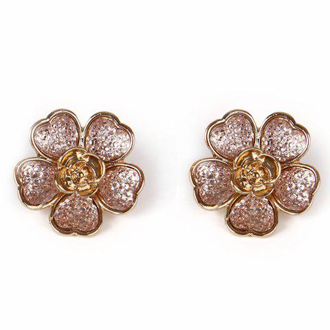 Pair of Faux Gem Flower Alloy Stud Earrings - GOLDEN