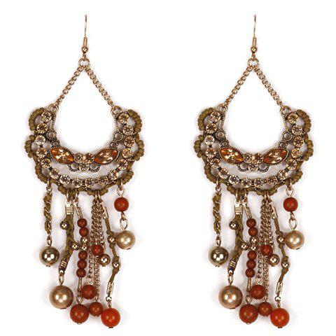 Pair of Rhinestones Beads Tassel Drop Earrings - COLORMIX