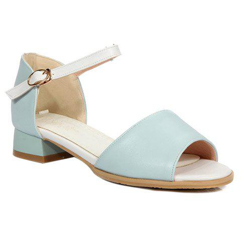 Simple Colour Block and Peep Toe Design Women's Sandals - LIGHT BLUE 38