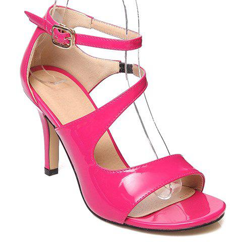 Fashionable Stiletto Heel and Patent Leather Design Women's Sandals - ROSE 34