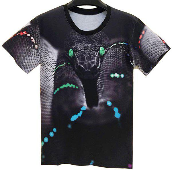Trendy Round Neck 3D Snake Pattern Short Sleeve Men's T-Shirt - COLORMIX M