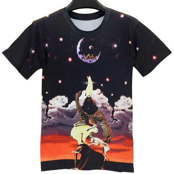 Trendy Round Neck 3D Animals Pattern Short Sleeve Men's T-Shirt - L COLORMIX
