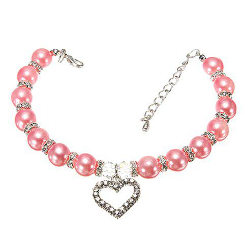 Chic Quality Love Heart Pendant Rhinestone Decor Venetian Pearl Dog Necklace - PINK S
