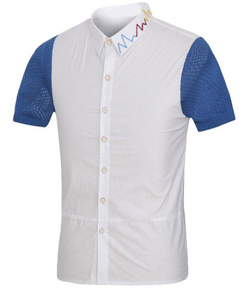 Colorful Embroidered Turn-Down Collar Mesh Spliced Short Sleeve Men's Shirt - WHITE 2XL