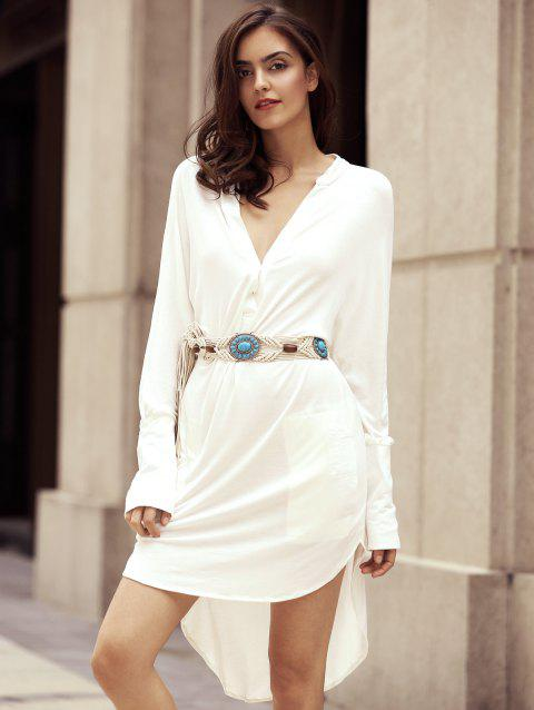 Fashionable Women's Plunging Neckline Long Sleeve High Low Dress - WHITE L