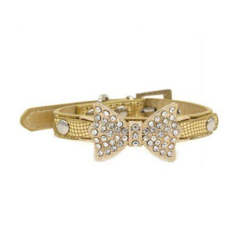 Chic Quality Golden Rhinestone Bow Decor PU Leather Adjustable Dog Collars - GOLDEN S