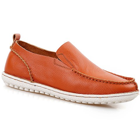 Concise Stitching and Solid Color Design Men's Loafers - ORANGE 40