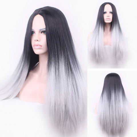 Vogue Black Ombre Gray Middle Part Synthetic Attractive Long Straight Cosplay Wig For Women - OMBRE 1211