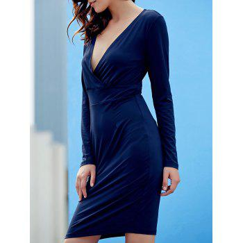 Sexy Plunging Neck Long Sleeve Pure Color Bodycon Women's Dress PURPLISH BLUE