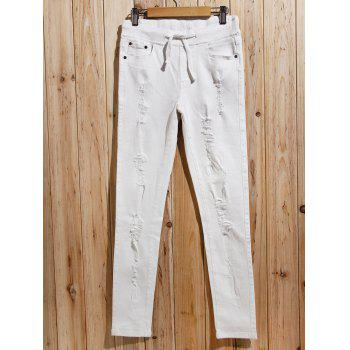 Trendy Drawstring Ripped Pants For Women