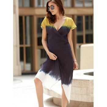 Stylish V-Neck Short Sleeve Color Block Irregular Wrap Women's Dress - YELLOW/BLACK L