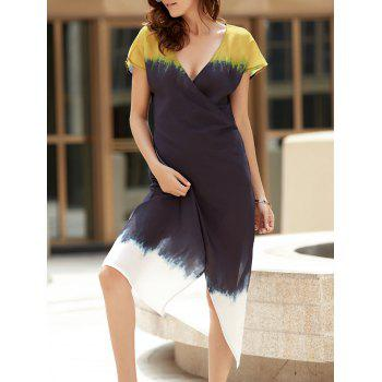 V Neck Short Sleeve Color Block Irregular Wrap Dress