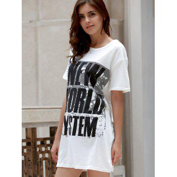 Leisure Style Round Collar Short Sleeve Letter Pattern Loose Women's T-Shirt - WHITE S