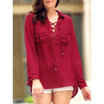 Fashionable Shirt Collar Long Sleeve Lace-Up High-Low Hem Women's Pocket Blouse