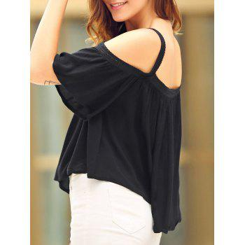 Chic Spaghetti Strap Half Sleeve Solid Color Cold Shoulder Loose Women's Blouse