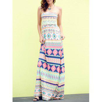 Sleeveless Strapless Geometric Print Women's Bohemian Dress