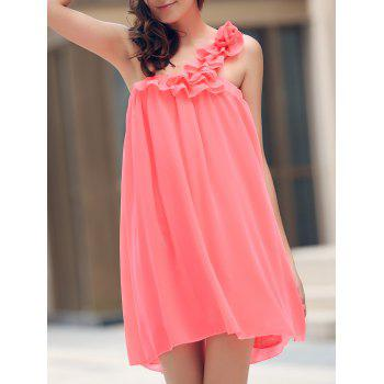 Chic Sleeveless One-Shoulder Stereo Flower Design Women's Dress
