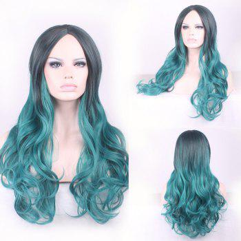 Fluffy Wavy Middle Part Gorgeous Black Ombre Blackish Green Long Synthetic Cosplay Wig For Women