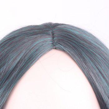 Fluffy Wavy Middle Part Gorgeous Black Ombre Blackish Green Long Synthetic Cosplay Wig For Women - OMBRE
