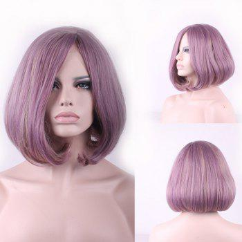 Bob Style Straight Side Parting Two-Tone Mixed Short Synthetic Cosplay Wig For Women