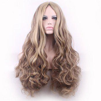 Bouffant Curly Long Synthetic Trendy Light Blonde Mixed Brown Middle Part Women's Cosplay Wig - COLORMIX