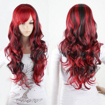 Shaggy Curly Bang Side synthétique Charme Long Black Mixed cosplay perruque rouge pour les femmes