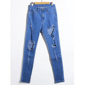 Bleach Wash Ripped Pencil Jeans - DENIM BLUE 2XL