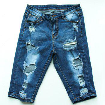 Trendy Bleach Wash Ripped Denim Bermuda Shorts