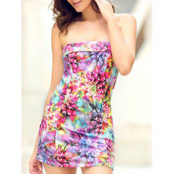 Trendy Strapless Sleeveless Colorful Printed Slimming Women's Dress