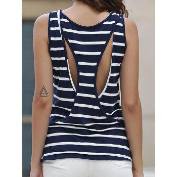 Round Collar Sleeveless Striped Hollow Out Women s Tank Top