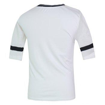 Fashion Round Neck Hollow Out Color Spliced Half Sleeves Men's Fitted T-Shirt - WHITE L