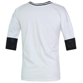 Color Block Hollow Out Round Neck Half Sleeves Men's Fitted T-Shirt - WHITE 2XL