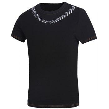 Slimming Round Neck Leaves Embroidered Short Sleeves Men's Fitted T-Shirt