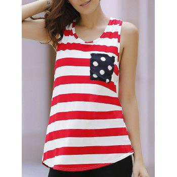 Striped Polka Dot Bowknot Decorated Tank Top