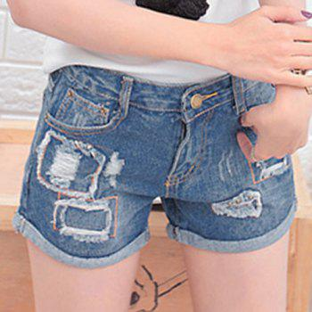 Bleach Wash Patched Ripped Jeans
