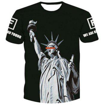 Fashion Men's Statue of Liberty Printed Pullover T-Shirt